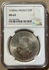 1948 MEXICO 5 Pesos NGC MS 65 - Silver