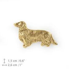 Teckel à poil long silhouette broche couverte d'or qualité supérieure Art Dog FR