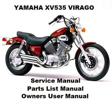 YAMAHA VIRAGO XV535 Owners Workshop Service Repair Parts List Manual PDF on CD-R