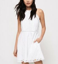 Superdry Women's Teagan Halter Dress White 100% Cotton -Size 12