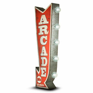 ARCADE Arrow Double Sided Sign W/ LED Lights Game Room Bar Man Cave Retro Red 3D