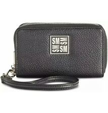 Steve Madden Megan Double Zip Wallet Black Silver