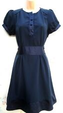 SIZE 16 VINTAGE 40's WW2 LANDGIRL STYLE TEA DRESS NAVY BLUE SMART  US 12 EU 44