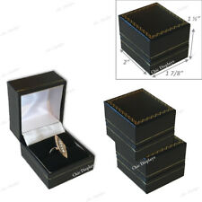 LOT (3) HIGH QUALITY RING GIFT BOX BLACK RING BOX FAUX LEATHER JEWELRY GIFT BOX