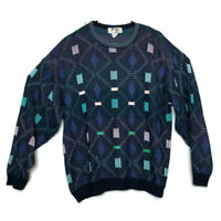 Vintage Fiji Geometric 80s Cosby Biggie Smalls Mens Large Blue Sweater FREE SHIP