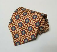 Vitaliano Pancaldi 100% Silk Mens Necktie Floral Geometric Tie Red Gold Blue
