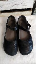 Alegria PG Lite Mary Janes Clogs Mules Nursing Shoes Black Leather KYR-701 Sz 39
