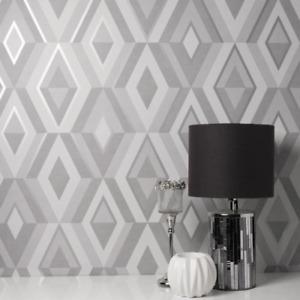 Grey and Silver Shard Geometric Diamond Wallpaper FD42606