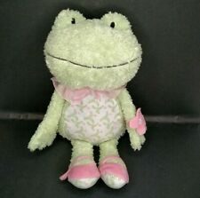 """Hallmark Lila Frog Plush Green Pink Floral Toy Lovey Bean Butt Fuzzy Soft 14"""""""