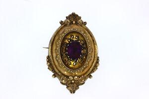 8710-333er Gelbgold Brosche m Amethyst Große 5x3,5 cm Gewicht 10 Gramm