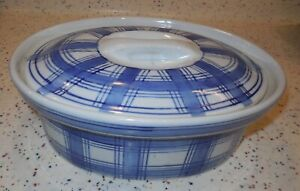 Williams Sonoma Promotional Item Covered Casserole Baking Dish Blue Plaid