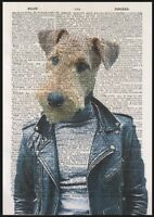 Airedale Terrier Print Vintage Dictionary Page Wall Art Picture Cool Dog Hipster