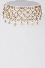 "12"" gold crystal fish scale drape choker bib collar necklace 2"" wide bridal prom"
