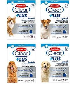 Bob Martin Clear Plus Spot-On Solution for Dogs ,Cats and Ferrets 3 Tubes 21 g