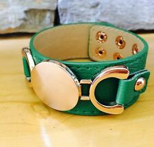 New Engraveable Green Leather Gold Horse Bit Wrap Bracelet Bangle Cuff Monogram