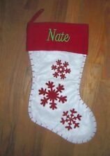 Christmas stocking  personalized  NATE   red, white   18 inch   smoke free  NWOT