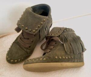 Baskets sneakers compensées kaki ASH Baba 36 TBE