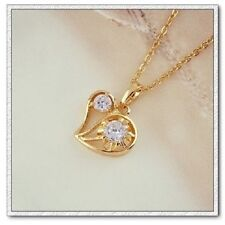 18k gold ep diamond simulated heart necklace comes with 18 inch chain