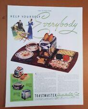 1939 Toastmaster Hospitality Set Appliance Toaster Original Vintage Print Ad