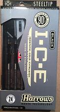 Harrows Black I.C.E 24g Steel Tip Darts 90% Tungsten 51535 w/ FREE Shipping