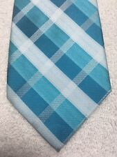 APT 9 MENS TIE TEAL GREEN AND WHITE PLAID PATTERN  3.5 X 59