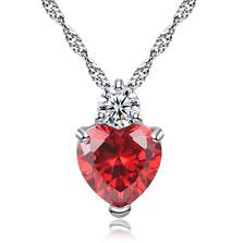 Silberkette Herz Halskette mit Anhänger Geburtstagsgeschenk Kristall S925 rot 1A