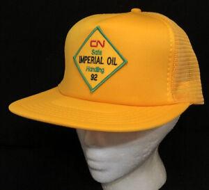 Vtg CN Rail Imperial Oil Mesh Trucker Hat Snapback Patch Safety Award Logo Cap