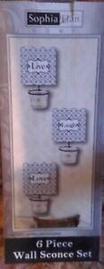 NEW Live Laugh Love 6 Piece Wall Sconce Set Tea Light Candle Holders White Black