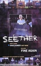 Seether 2002 Disclaimer Original Promo Poster Double Sided