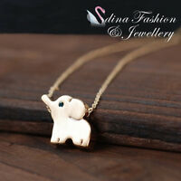 18K Yellow & Rose Gold Plated Cute Blue Crystal Eye Baby Elephant Necklace