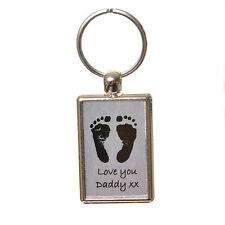 Baby Hand - Foot Print Keyring *Unique Father's Day Gift* Fingerprint Jewellery