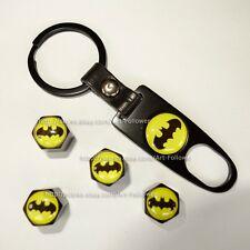 1 Sets Batman logo Tire Air Valve Cap + Wrench Key Chain New Cool