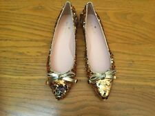 KATE SPADE NEW YORK EMMA TOO GOLD/SILVER SEQUIN FLAT SHOES NEW SIZE 7 $198.00