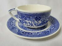 Blue Willow China Tea Cup w Saucer.  Blue on Handle . Vintage. EUC