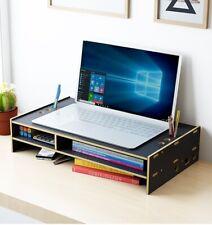 Desk Organizer Wood Computer Monitor Stands Office Pen File Holder Storage Racks