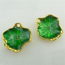 (98549-5X) Gold Alloy Cloisonne Enamel Green Leaf Plants Faced Pendant Jewelry