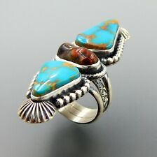 HANDCRAFTED STERLING SILVER AMERICAN TURQUOISE & FIRE AGATE LONG STATEMENT RING