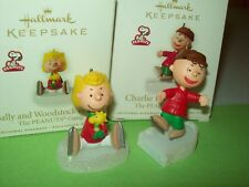 Hallmark Lot Sally and Woodstock & Charlie Brown on Ice 2010 Miniature Ornaments