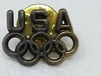 Vintage Set of 2 Metal Brass Color USA Olympic Rings Pins