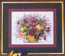 Country Cross-Stitch BASKET OF FRUIT AND FLOWERS Cross Stitch Leaflet still life
