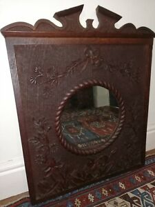 Edwardian carved oak frame with new mirror plate 1909 [D181]