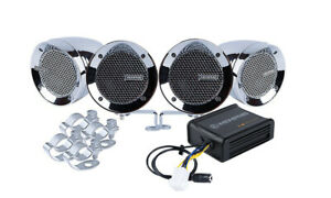 Memphis Audio MXABMC4 4) Chrome Speakers+Amp For Motorcycle/ATV/Scooter/Dirtbike