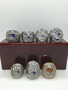 7 Pcs Tom Brady Super Bowl Championship Ring Set with Wooden Display Box
