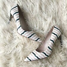 Miu Miu Nautical Stripe Pink White Black Pointed Toe Pumps Heels Sz 38.5 NEW