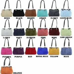 Womens Italian Suede Leather handbag with adjustable straps