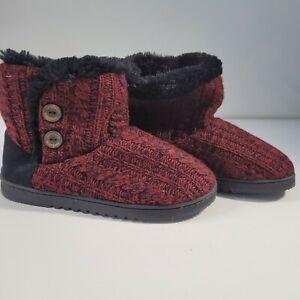 Dearfoams Women's Memory Foam Sweater Knit Indoor/Outdoor Bootie Slippers Red A