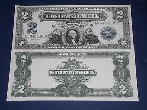 NICE LOOKING CRISP UNC. 1899 $2 SILVER CERTIFICATE COPY