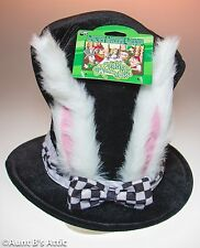 Top Hat White Rabbit Alice In Wonderland Black Velvet Bunny Eared Tall Top Hat