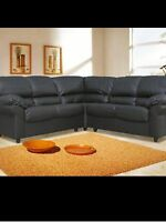 CANDY Faux leather SOFA BLACK 3+2 Seater