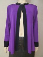 Exclusively Misook Size L Jacket Cardigan Knit Blazer Open Front Leather Trim